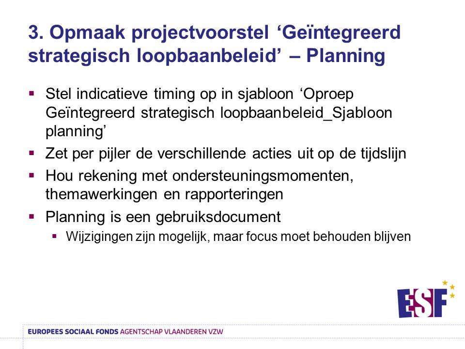 3. Opmaak projectvoorstel 'Geïntegreerd strategisch loopbaanbeleid' – Planning  Stel indicatieve timing op in sjabloon 'Oproep Geïntegreerd strategis