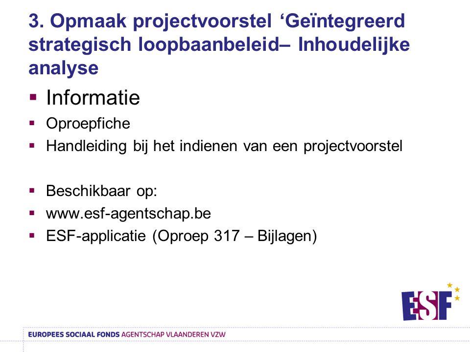 3. Opmaak projectvoorstel 'Geïntegreerd strategisch loopbaanbeleid– Inhoudelijke analyse  Informatie  Oproepfiche  Handleiding bij het indienen van