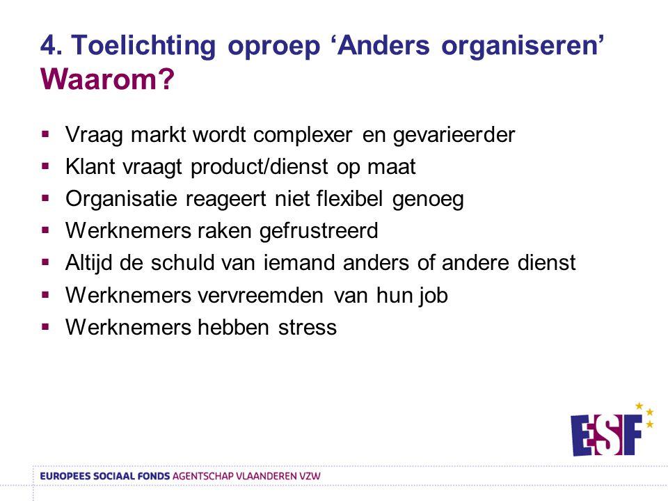4. Toelichting oproep 'Anders organiseren' Waarom?  Vraag markt wordt complexer en gevarieerder  Klant vraagt product/dienst op maat  Organisatie r