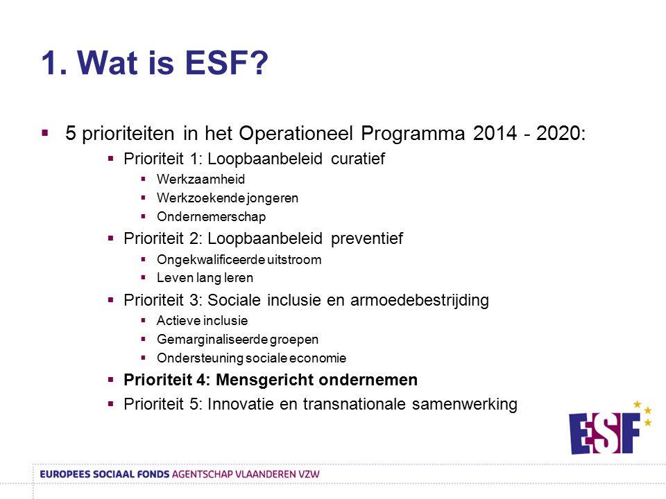 1. Wat is ESF?  5 prioriteiten in het Operationeel Programma 2014 - 2020:  Prioriteit 1: Loopbaanbeleid curatief  Werkzaamheid  Werkzoekende jonge