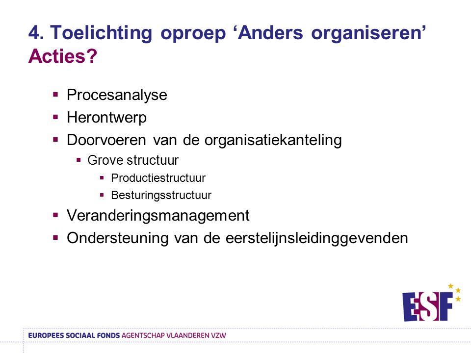 4. Toelichting oproep 'Anders organiseren' Acties?  Procesanalyse  Herontwerp  Doorvoeren van de organisatiekanteling  Grove structuur  Productie