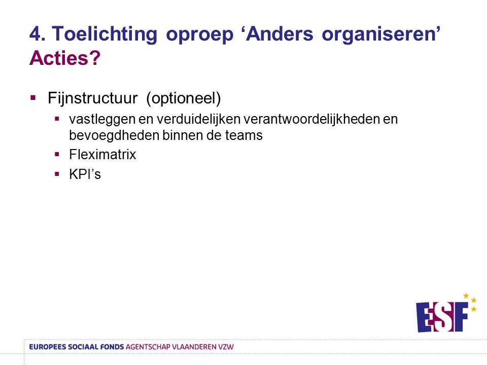 4. Toelichting oproep 'Anders organiseren' Acties?  Fijnstructuur (optioneel)  vastleggen en verduidelijken verantwoordelijkheden en bevoegdheden bi