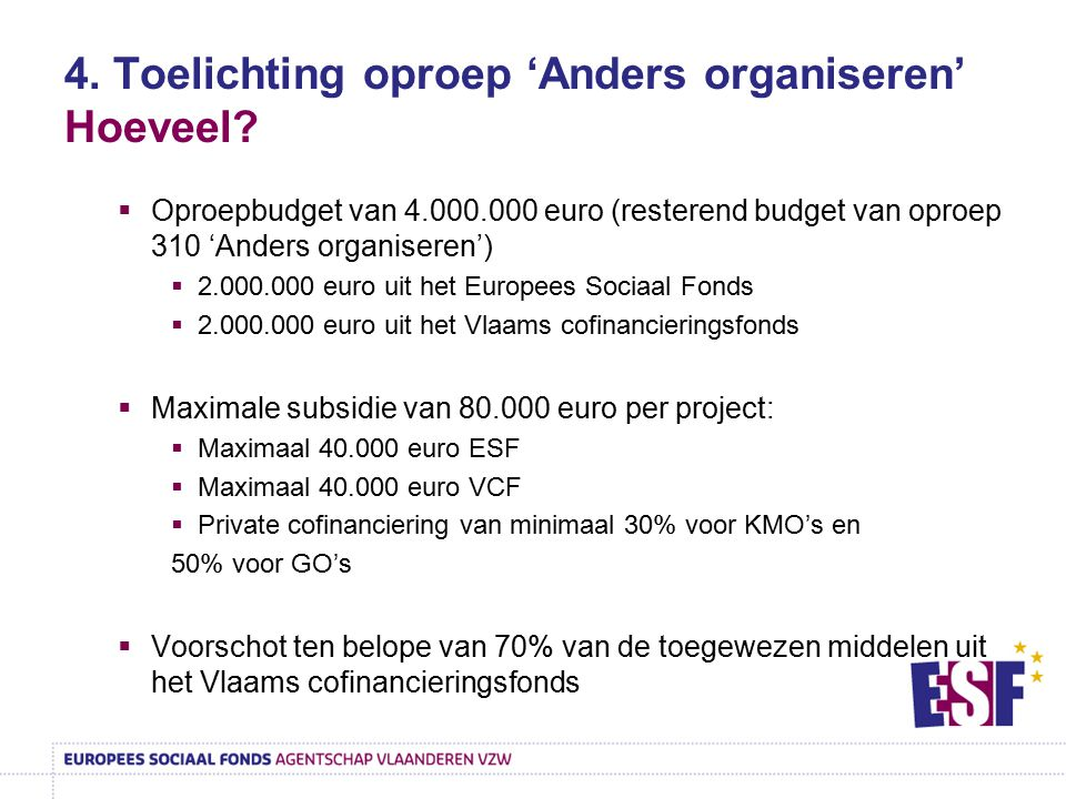 4. Toelichting oproep 'Anders organiseren' Hoeveel?  Oproepbudget van 4.000.000 euro (resterend budget van oproep 310 'Anders organiseren')  2.000.0