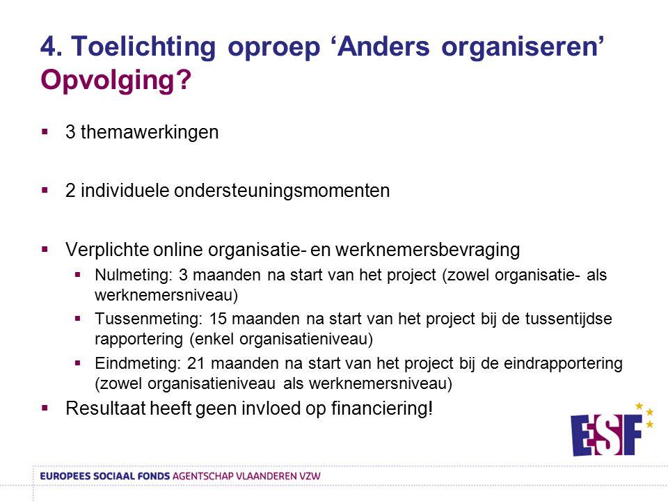 4. Toelichting oproep 'Anders organiseren' Opvolging?  3 themawerkingen  2 individuele ondersteuningsmomenten  Verplichte online organisatie- en we