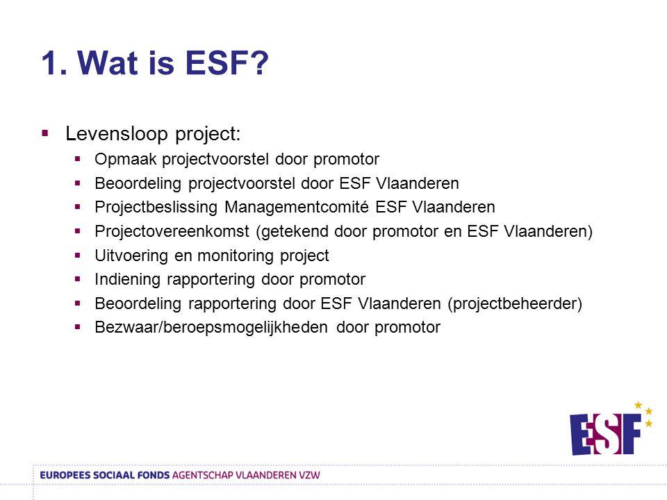 1. Wat is ESF?  Levensloop project:  Opmaak projectvoorstel door promotor  Beoordeling projectvoorstel door ESF Vlaanderen  Projectbeslissing Mana