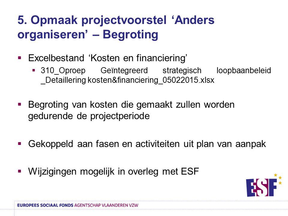 5. Opmaak projectvoorstel 'Anders organiseren' – Begroting  Excelbestand 'Kosten en financiering'  310_Oproep Geïntegreerd strategisch loopbaanbelei