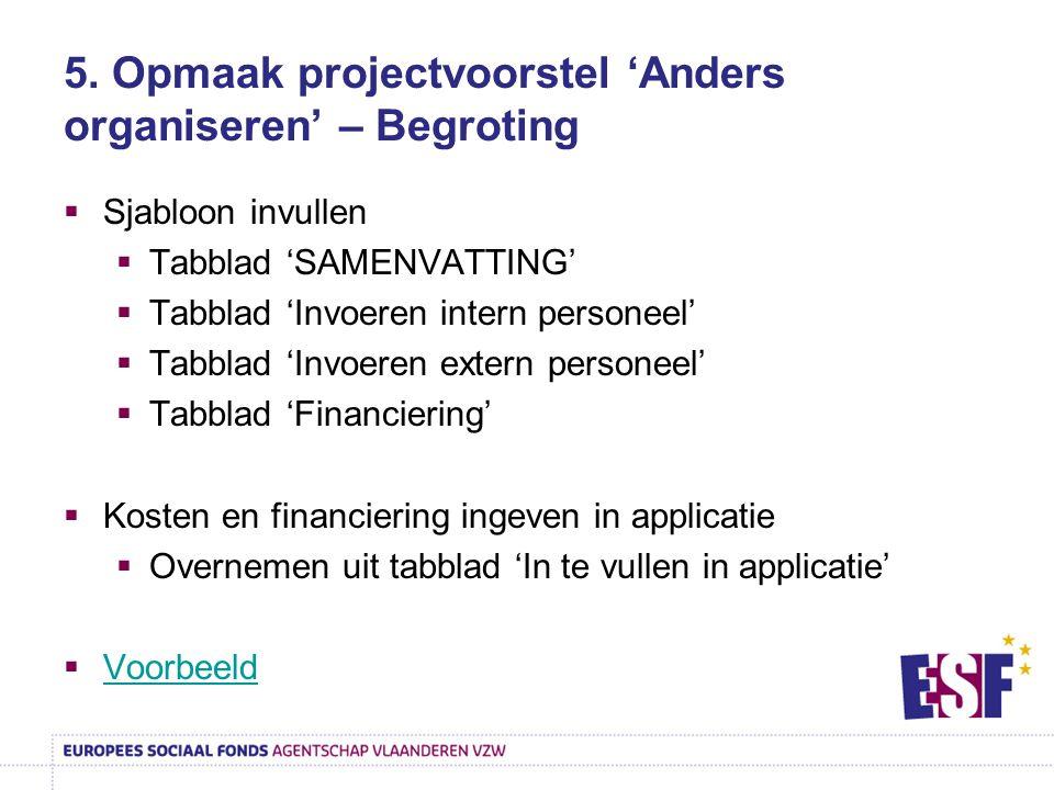 5. Opmaak projectvoorstel 'Anders organiseren' – Begroting  Sjabloon invullen  Tabblad 'SAMENVATTING'  Tabblad 'Invoeren intern personeel'  Tabbla