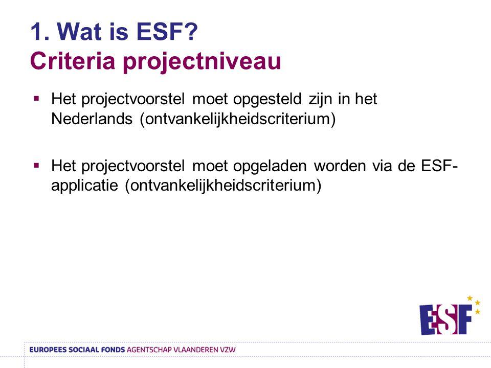 1. Wat is ESF? Criteria projectniveau  Het projectvoorstel moet opgesteld zijn in het Nederlands (ontvankelijkheidscriterium)  Het projectvoorstel m