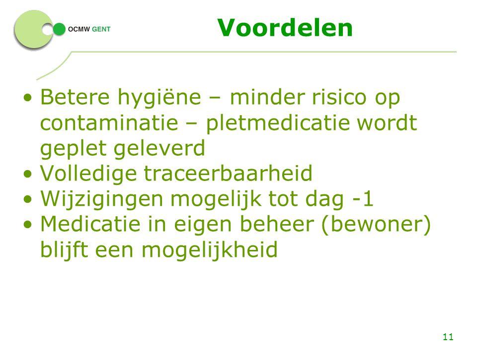 Voordelen Betere hygiëne – minder risico op contaminatie – pletmedicatie wordt geplet geleverd Volledige traceerbaarheid Wijzigingen mogelijk tot dag