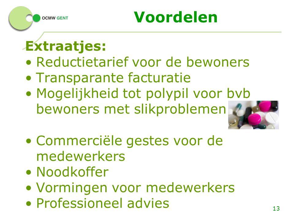Voordelen Extraatjes: Reductietarief voor de bewoners Transparante facturatie Mogelijkheid tot polypil voor bvb bewoners met slikproblemen Commerciële