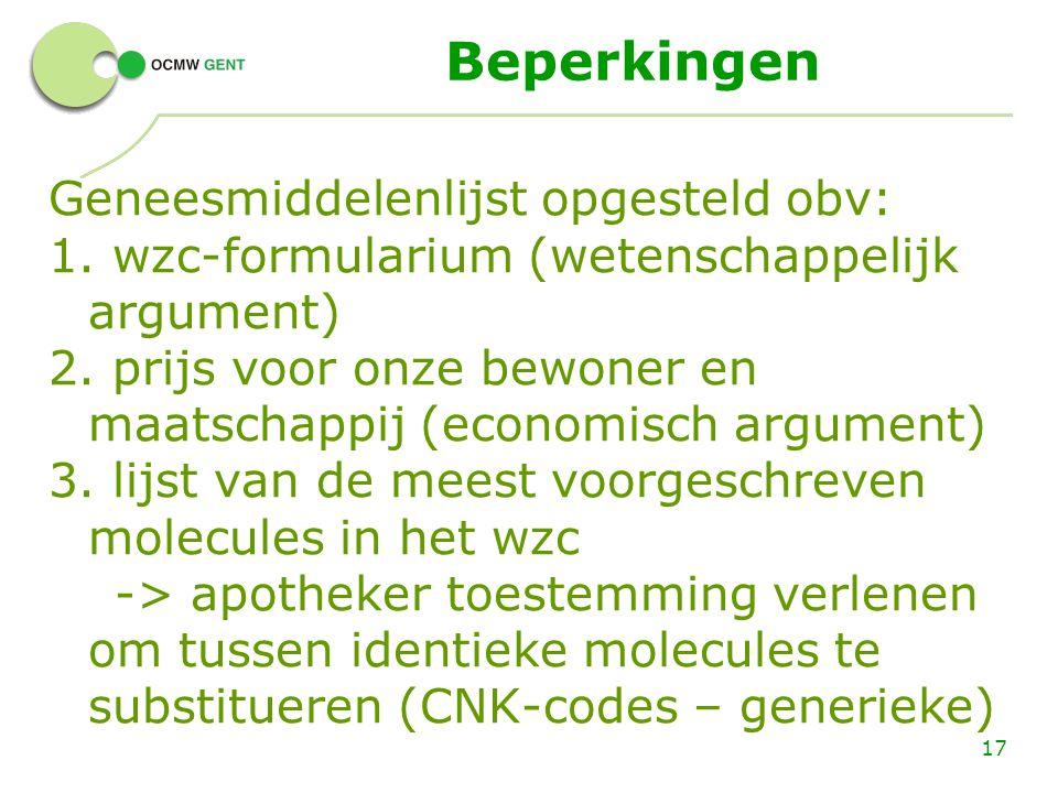 Beperkingen Geneesmiddelenlijst opgesteld obv: 1. wzc-formularium (wetenschappelijk argument) 2. prijs voor onze bewoner en maatschappij (economisch a