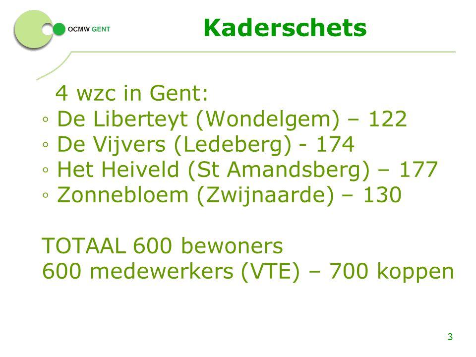 Kaderschets 4 wzc in Gent: ◦ De Liberteyt (Wondelgem) – 122 ◦ De Vijvers (Ledeberg) - 174 ◦ Het Heiveld (St Amandsberg) – 177 ◦ Zonnebloem (Zwijnaarde