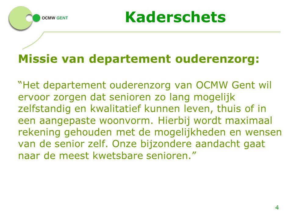"""Kaderschets Missie van departement ouderenzorg: """"Het departement ouderenzorg van OCMW Gent wil ervoor zorgen dat senioren zo lang mogelijk zelfstandig"""
