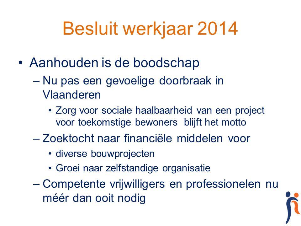 Besluit werkjaar 2014 Aanhouden is de boodschap –Nu pas een gevoelige doorbraak in Vlaanderen Zorg voor sociale haalbaarheid van een project voor toek