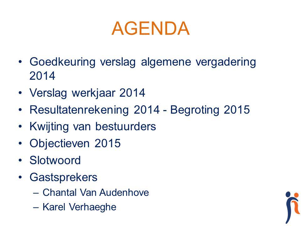 AGENDA Goedkeuring verslag algemene vergadering 2014 Verslag werkjaar 2014 Resultatenrekening 2014 - Begroting 2015 Kwijting van bestuurders Objectiev