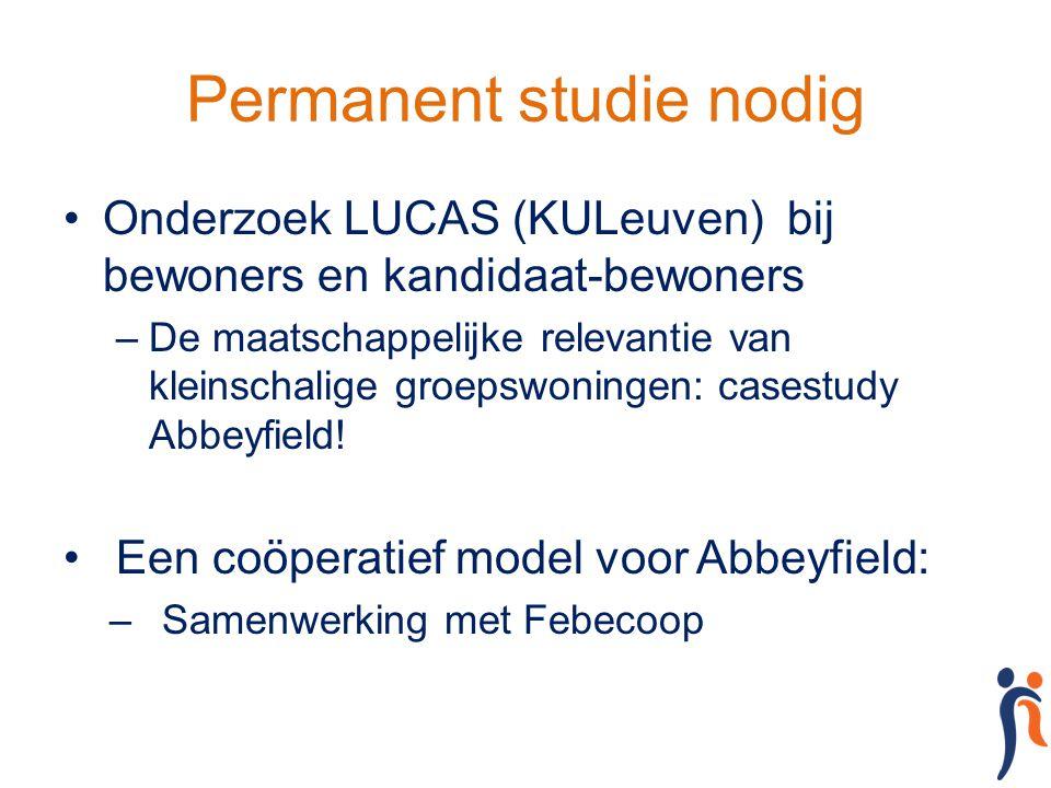 Permanent studie nodig Onderzoek LUCAS (KULeuven) bij bewoners en kandidaat-bewoners –De maatschappelijke relevantie van kleinschalige groepswoningen: