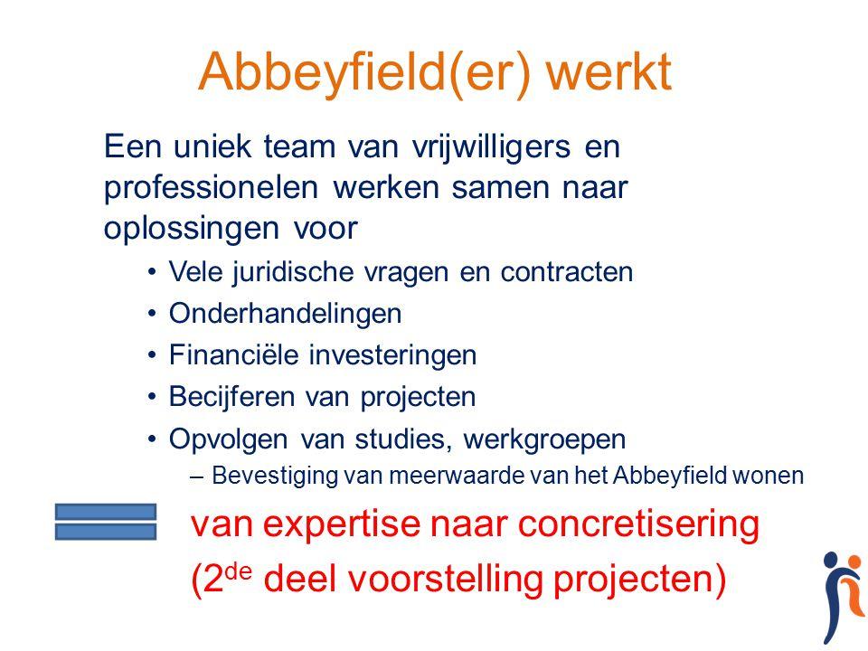 Abbeyfield(er) werkt Een uniek team van vrijwilligers en professionelen werken samen naar oplossingen voor Vele juridische vragen en contracten Onderh