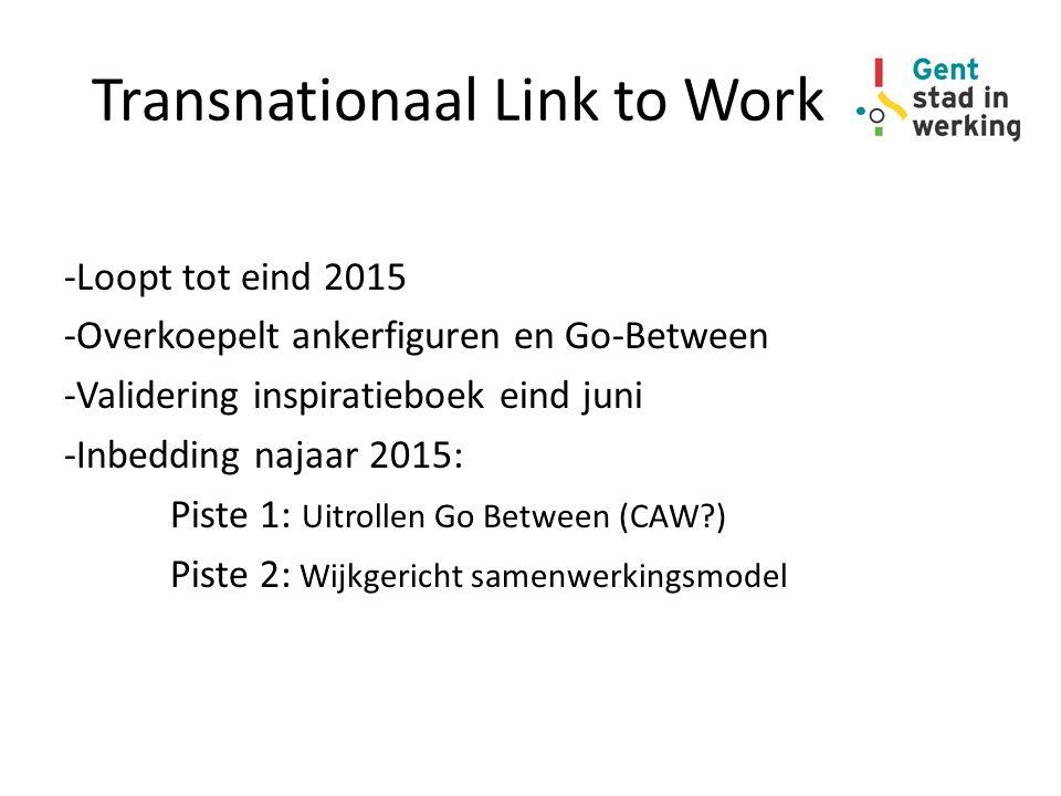 Transnationaal Link to Work -Loopt tot eind 2015 -Overkoepelt ankerfiguren en Go-Between -Validering inspiratieboek eind juni -Inbedding najaar 2015: