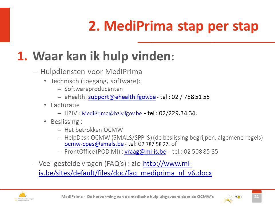 2. MediPrima stap per stap 1.Waar kan ik hulp vinden : – Hulpdiensten voor MediPrima Technisch (toegang, software): – Softwareproducenten – eHealth: s