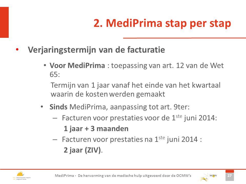 2. MediPrima stap per stap Verjaringstermijn van de facturatie Voor MediPrima : toepassing van art. 12 van de Wet 65: Termijn van 1 jaar vanaf het ein