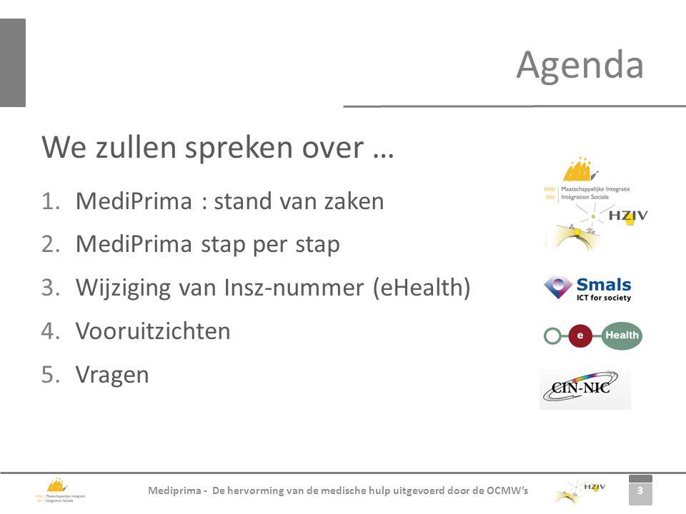 3 Mediprima - De hervorming van de medische hulp uitgevoerd door de OCMW's We zullen spreken over … 1.MediPrima : stand van zaken 2.MediPrima stap per