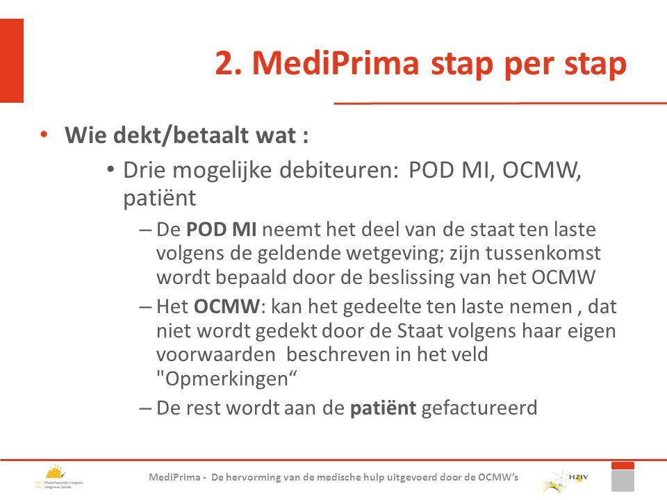 2. MediPrima stap per stap Wie dekt/betaalt wat : Drie mogelijke debiteuren: POD MI, OCMW, patiënt – De POD MI neemt het deel van de staat ten laste v