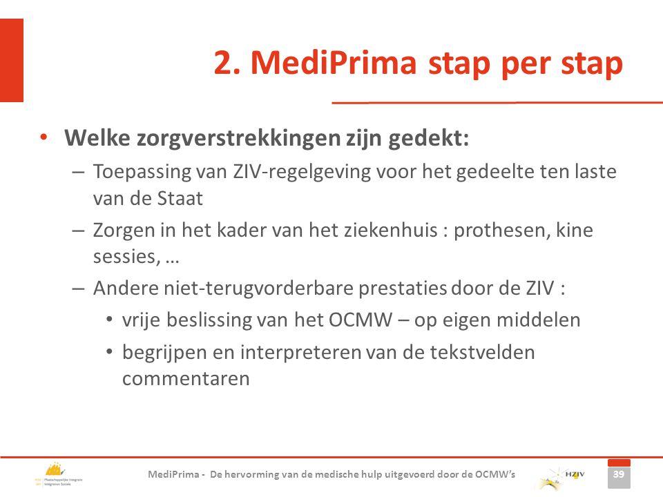 2. MediPrima stap per stap Welke zorgverstrekkingen zijn gedekt: – Toepassing van ZIV-regelgeving voor het gedeelte ten laste van de Staat – Zorgen in