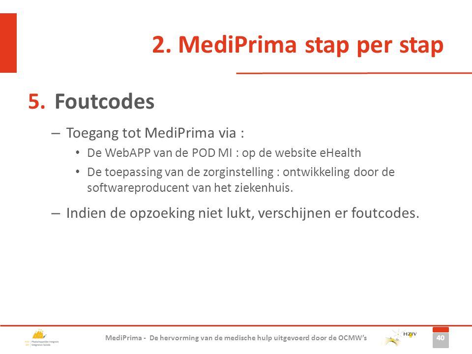 2. MediPrima stap per stap 5.Foutcodes – Toegang tot MediPrima via : De WebAPP van de POD MI : op de website eHealth De toepassing van de zorginstelli