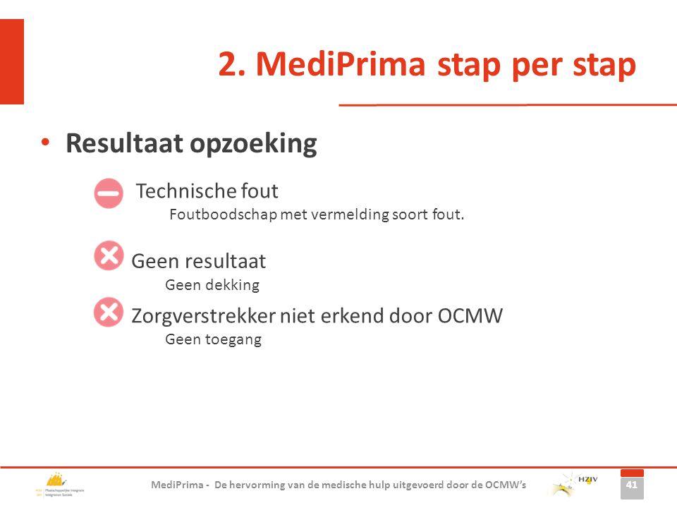 2. MediPrima stap per stap Resultaat opzoeking 41 MediPrima - De hervorming van de medische hulp uitgevoerd door de OCMW's Geen resultaat Geen dekking