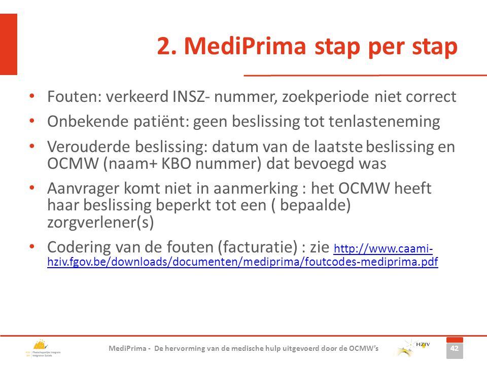 2. MediPrima stap per stap Fouten: verkeerd INSZ- nummer, zoekperiode niet correct Onbekende patiënt: geen beslissing tot tenlasteneming Verouderde be