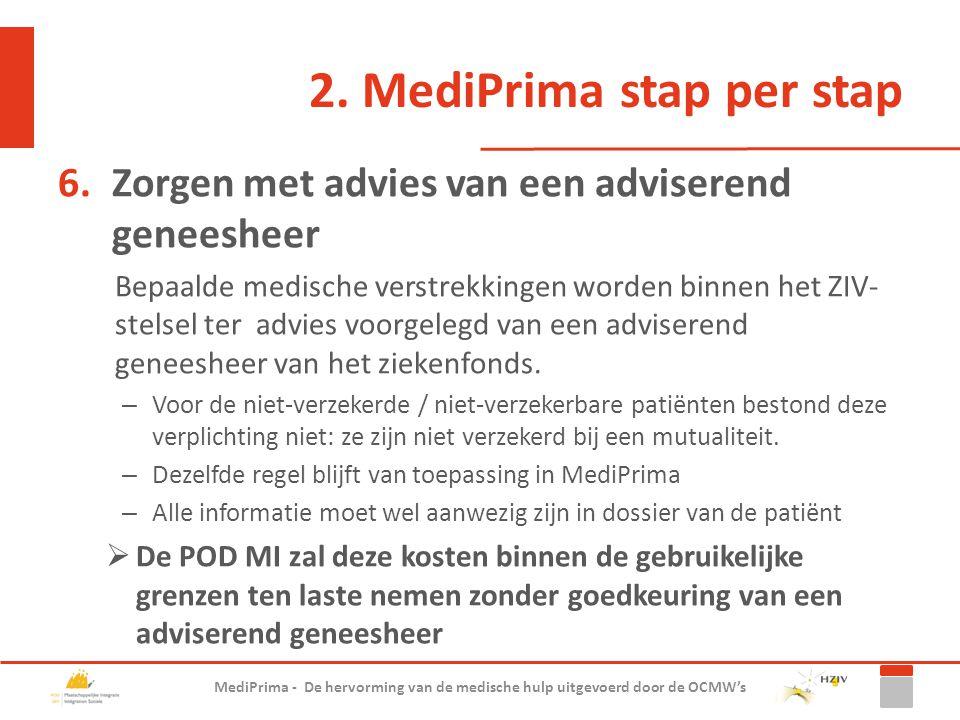 2. MediPrima stap per stap 6.Zorgen met advies van een adviserend geneesheer Bepaalde medische verstrekkingen worden binnen het ZIV- stelsel ter advie