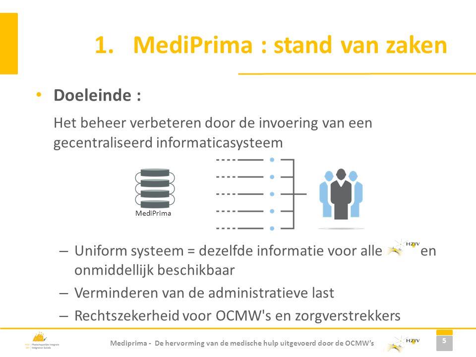 Mediprima - De hervorming van de medische hulp uitgevoerd door de OCMW's 1.MediPrima : stand van zaken Doeleinde : Het beheer verbeteren door de invoe