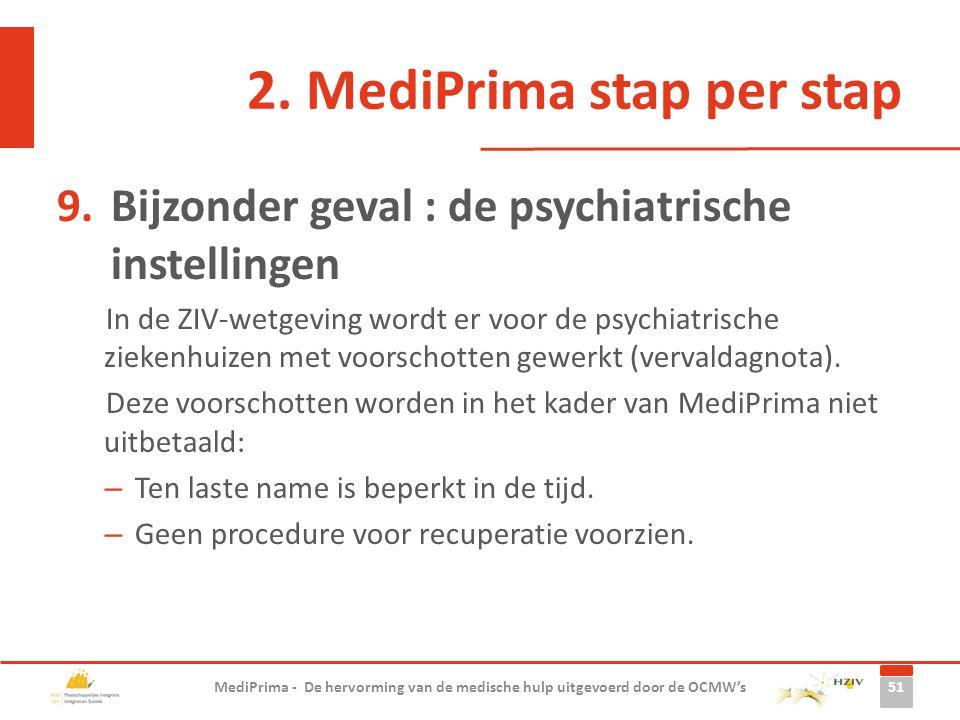 2. MediPrima stap per stap 9.Bijzonder geval : de psychiatrische instellingen In de ZIV-wetgeving wordt er voor de psychiatrische ziekenhuizen met voo
