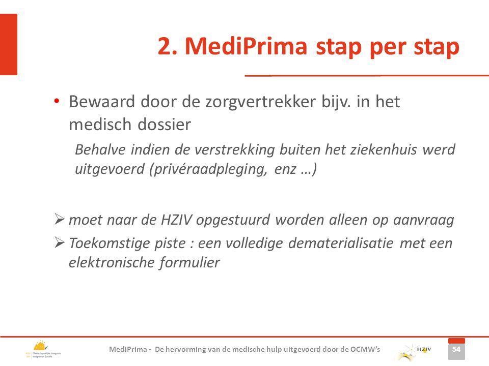 2. MediPrima stap per stap Bewaard door de zorgvertrekker bijv. in het medisch dossier Behalve indien de verstrekking buiten het ziekenhuis werd uitge