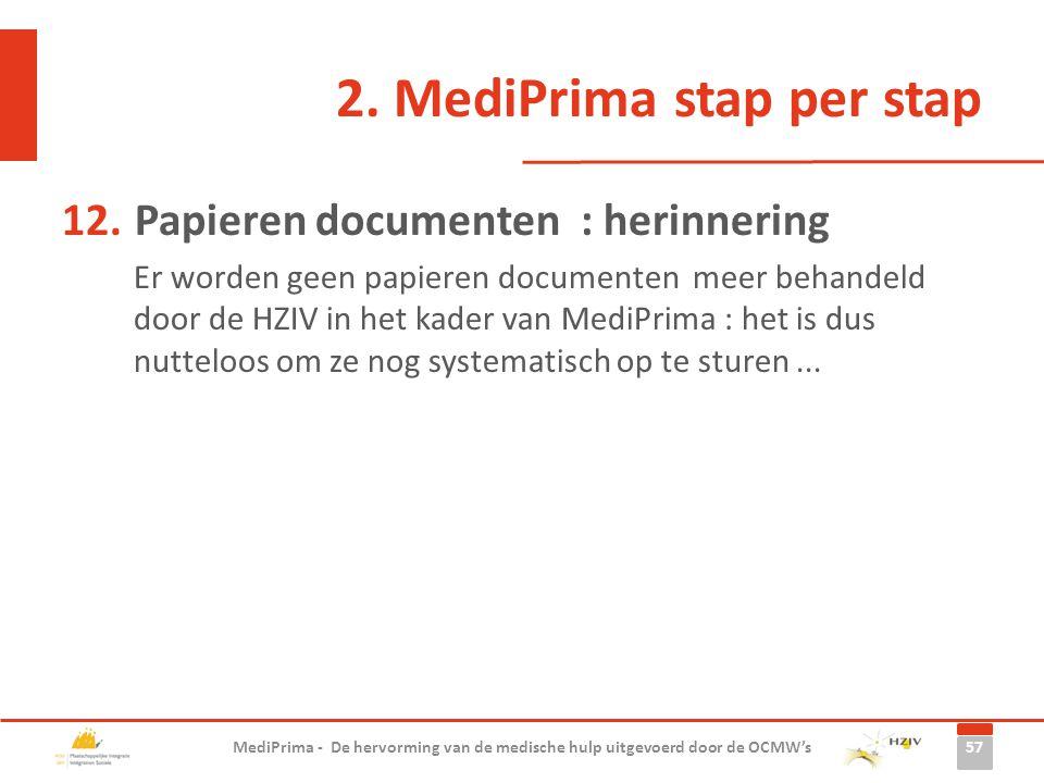 2. MediPrima stap per stap 12.Papieren documenten : herinnering Er worden geen papieren documenten meer behandeld door de HZIV in het kader van MediPr