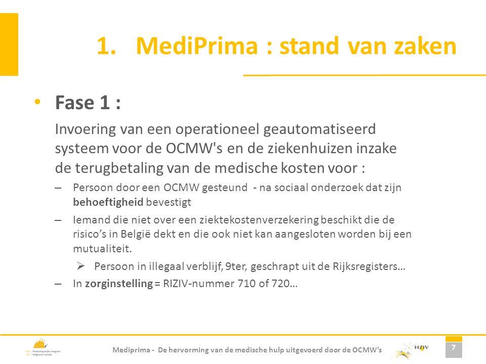 Mediprima - De hervorming van de medische hulp uitgevoerd door de OCMW's 1.MediPrima : stand van zaken Fase 1 : Invoering van een operationeel geautom