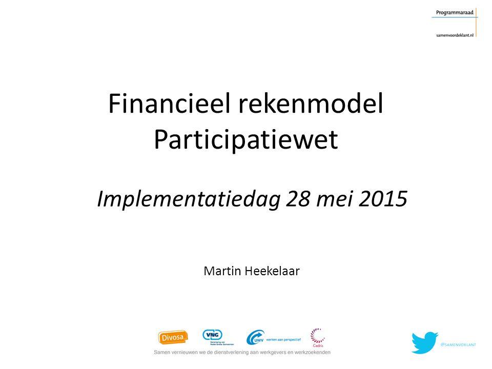 Financieel rekenmodel Participatiewet Martin Heekelaar Implementatiedag 28 mei 2015