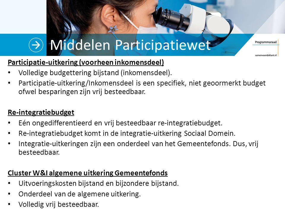 Middelen Participatiewet Participatie-uitkering (voorheen inkomensdeel) Volledige budgettering bijstand (inkomensdeel). Participatie-uitkering/Inkomen