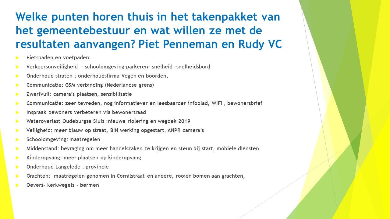 Welke punten horen thuis in het takenpakket van het gemeentebestuur en wat willen ze met de resultaten aanvangen? Piet Penneman en Rudy VC  Fietspade