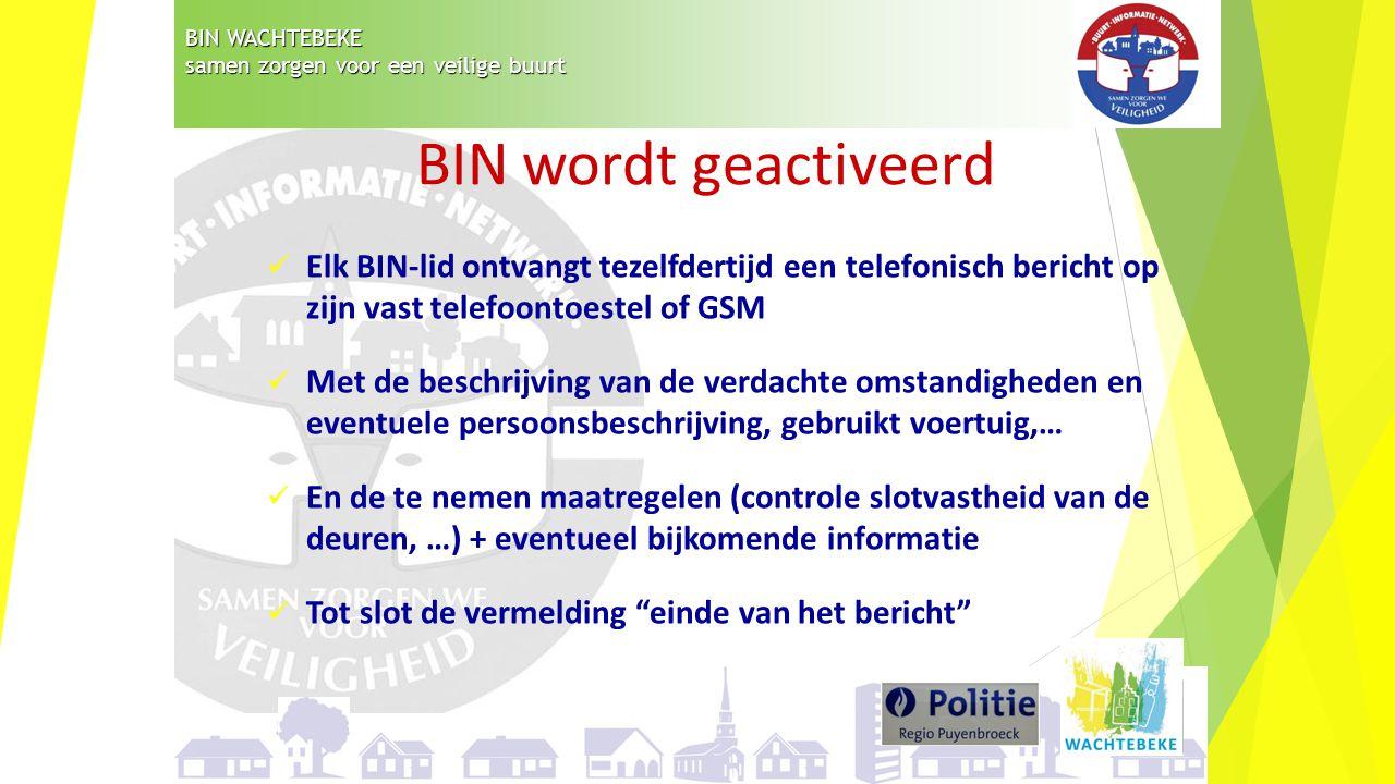 BIN WACHTEBEKE samen zorgen voor een veilige buurt Elk BIN-lid ontvangt tezelfdertijd een telefonisch bericht op zijn vast telefoontoestel of GSM Met