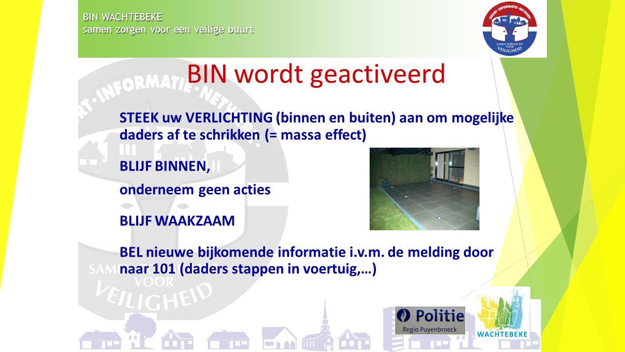 BIN WACHTEBEKE samen zorgen voor een veilige buurt STEEK uw VERLICHTING (binnen en buiten) aan om mogelijke daders af te schrikken (= massa effect) BL