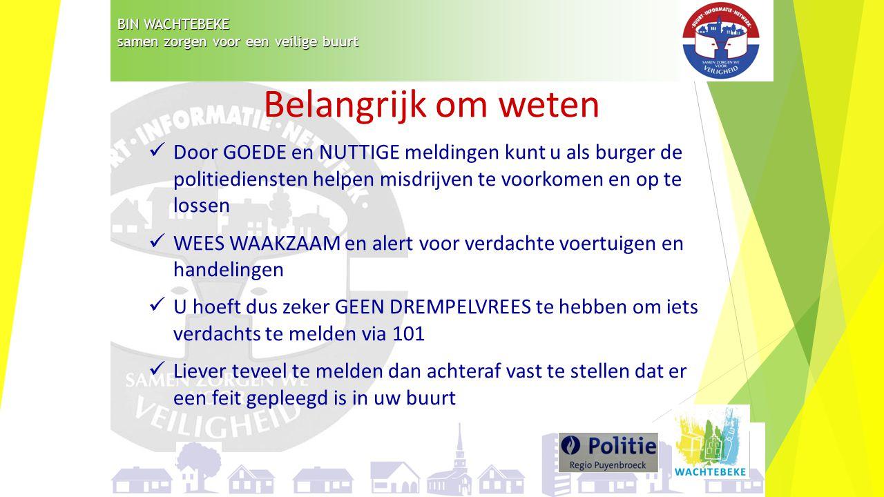 BIN WACHTEBEKE samen zorgen voor een veilige buurt Belangrijk om weten Door GOEDE en NUTTIGE meldingen kunt u als burger de politiediensten helpen mis