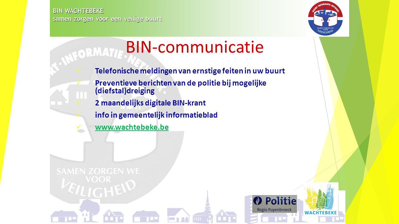 BIN WACHTEBEKE samen zorgen voor een veilige buurt Telefonische meldingen van ernstige feiten in uw buurt Preventieve berichten van de politie bij mog