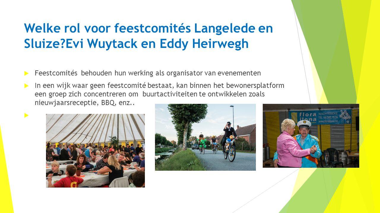 Welke rol voor feestcomités Langelede en Sluize?Evi Wuytack en Eddy Heirwegh  Feestcomités behouden hun werking als organisator van evenementen  In