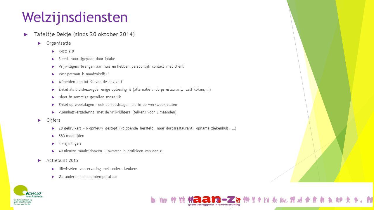 Welzijnsdiensten  Tafeltje Dekje (sinds 20 oktober 2014)  Organisatie  Kost: € 8  Steeds voorafgegaan door intake  Vrijwilligers brengen aan huis