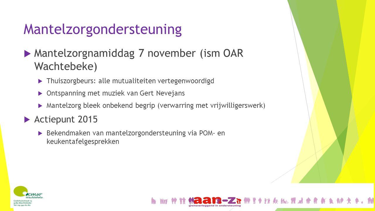 Mantelzorgondersteuning  Mantelzorgnamiddag 7 november (ism OAR Wachtebeke)  Thuiszorgbeurs: alle mutualiteiten vertegenwoordigd  Ontspanning met m