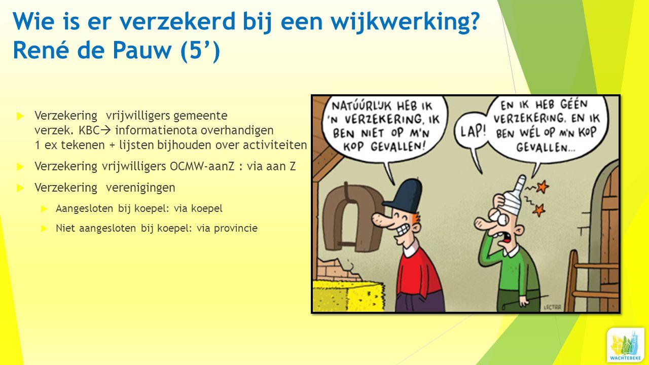 Wie is er verzekerd bij een wijkwerking? René de Pauw (5')  Verzekering vrijwilligers gemeente verzek. KBC  informatienota overhandigen 1 ex tekenen