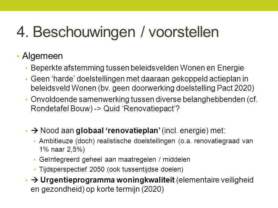4. Beschouwingen / voorstellen Algemeen Beperkte afstemming tussen beleidsvelden Wonen en Energie Geen 'harde' doelstellingen met daaraan gekoppeld ac