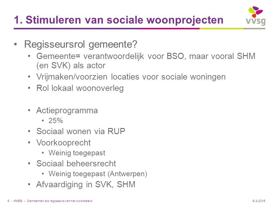 VVSG - 1. Stimuleren van sociale woonprojecten Regisseursrol gemeente.