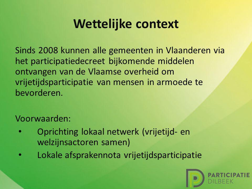 Wettelijke context Sinds 2008 kunnen alle gemeenten in Vlaanderen via het participatiedecreet bijkomende middelen ontvangen van de Vlaamse overheid om vrijetijdsparticipatie van mensen in armoede te bevorderen.
